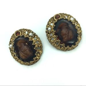 Vintage Cameo Clip on Earrings West Germany